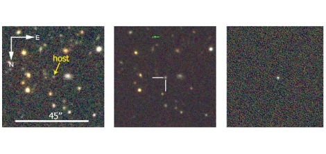 Before (left) and after (center) images of the region where DES13S2cmm was discovered. On the right is the supernova. (Credit: Dark Energy Survey)