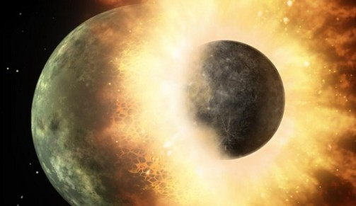 New scientific evidence from the Apollo missions could prove that a planet the size of Mars called Theia once collided with Earth and created our moon. Credit: NASA