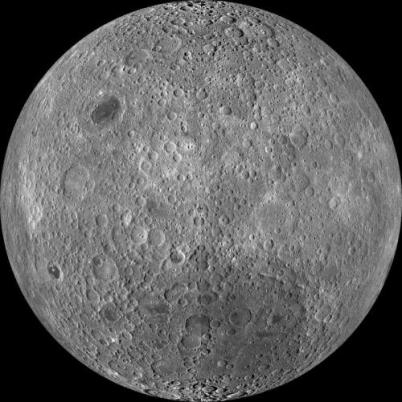 This is a composite image of the lunar farside taken by the Lunar Reconnaissance Orbiter in June 2009, note the absence of dark areas. Credit: NASA