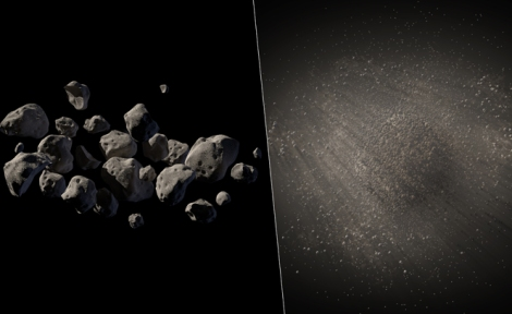 An artist's conception of two possible views of asteroid 2011 MD. (Image courtesy NASA Jet Propulsion Laboratory)