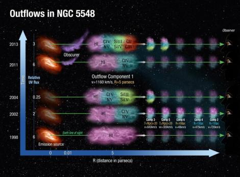 This is an illustration of the physical, spatial and temporal picture for the outflows emanating from the vicinity of the super massive black hole in the galaxy NGC 5548. The behavior of the emission source in five epochs is shown along the time axis. The obscurer is situated at roughly 0.03 light years (0.01 parsecs) from the emission source and is only seen in 2011 and 2013 (it is much stronger in 2013). Outflow component 1 shows the most dramatic changes in its absorption troughs. Different observed ionic species are represented as colored zones within the absorbers. Credit: Ann Feild/Space Telescope Science Institute