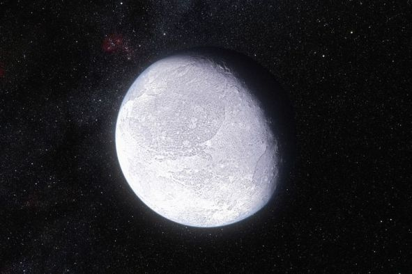 An artist's impression of Eris, the most massive dwarf planet known to date, with an aphelion of 97 AU from the Sun. Could bigger Super-Earth-type planets be orbiting even farther out? Image Credit: ESO/L. Calçada and Nick Risinger