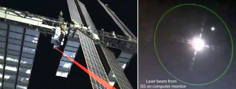 At left: Illustration showing the 2.5 watt OPALS laser beaming video to Earth. At right, the laser beam arrives from the ISS as seen on the computer monitor at Table Mountain Observatory. (Credit: NASA)