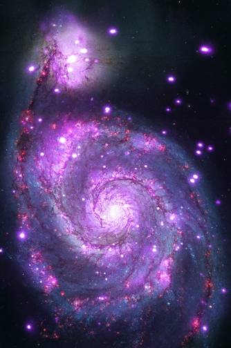 The Whirlpool galaxy seen in both optical (red, green and blue) and X-ray (purple) light. Image Credit: X-ray: NASA/CXC/Wesleyan Univ./R.Kilgard, et al; Optical: NASA/STScI Read more: http://www.universetoday.com/112332/amazing-new-x-ray-image-of-the-whirlpool-galaxy-shows-it-is-dotted-with-black-holes/#ixzz33snF4D1V