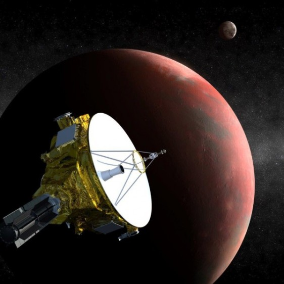 The New Horizons spacecraft approaches Pluto in this artist's conception. (JHUAPL/SWRI)