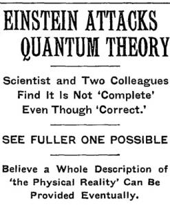 May 4, 1935 New York Times article headline regarding the imminent EPR paper.