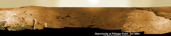 Opportunity Mars rover peers into vast Endeavour Crater from Pillinger Point mountain ridge named in honor of Colin Pillinger, the Principal Investigator for the British Beagle 2 lander built to search for life on Mars. Pillinger passed away from a brain hemorrhage on May 7, 2014. This navcam camera photo mosaic was assembled from images taken on June 5, 2014 (Sol 3684) and colorized. Credit: NASA/JPL/Cornell/Marco Di Lorenzo/Ken Kremer-kenkremer.com Read more: http://www.universetoday.com/112606/opportunity-peers-out-from-pillinger-point-honoring-british-beagle-2-mars-scientist-where-ancient-water-flowed/#ixzz34sFwIO7M