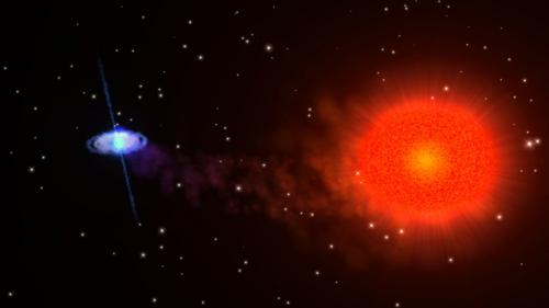 An artist's impression of an x-ray binary system. The matter that a neutron star (blue) sucks from a regular star (red) leads to the emission of intense x-ray beams. (Credit: NASA)