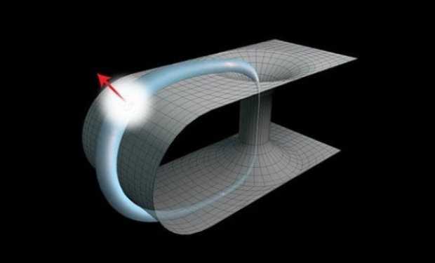 Space-time structure exhibiting closed paths in space (horizontal) and time (vertical). A quantum particle travels through a wormhole back in time and returns to the same location in space and time. Credit: Martin Ringbauer