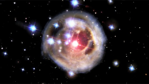 V838 created an expanding light echo that illuminated the interstellar dust surrounding it and generated one of the most amazing scenes captured by Hubble.