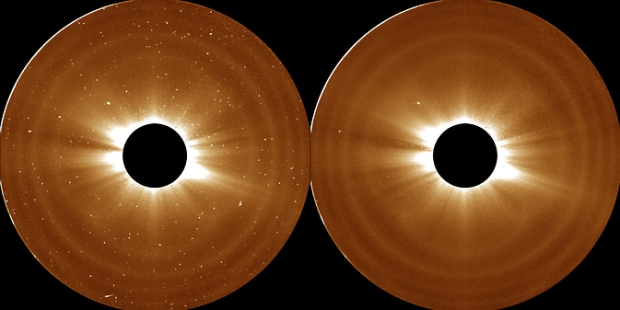 Scientists used these observations of the sun's atmosphere (the bright light of the sun itself is blocked by the black circle at the middle) from NASA's Solar Terrestrial Relations Observatory on Aug. 5, 2007, to define the outer limits of the solar atmosphere, the corona. (Credit: NASA/STEREO)