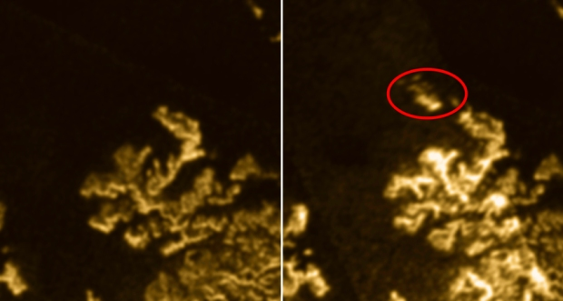 A bright patch (right, circled) on one of Titan's northern methane seas, shown as dark areas, appeared in a Cassini spacecraft image taken on July 10, 2013. The patch disappeared by July 16, 2013 and was not visible in earlier images (left).