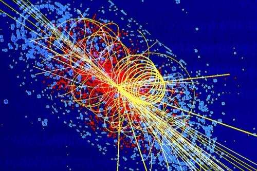 Simulation of a particle collision in which a Higgs boson is produced. (Credit: Lucas Taylor/CMS)