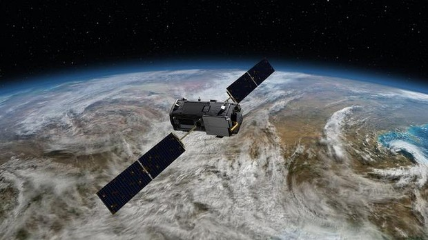 An artist's impression of how NASA's Orbiting Carbon Observatory will look in space. (Credit: NASA/JPL-Caltech)
