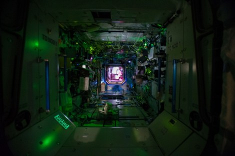 This view is looking into the Destiny Laboratory from Node 1 (Unity) with Node 2 (Harmony) in the background. Destiny is the primary research laboratory for U.S. payloads, supporting a wide range of experiments and studies. (Credit NASA)