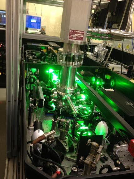he experiment was undertaken at Rutherford Appleton Laboratories in the Artemis laser facility using an advanced femtosecond laser system to resolve rotations of complexes. The picture shows a section of the laser system used during the experiments. (Credit: Gediminas Galinis, University of Leicester.)