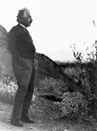 Albert Einstein Standing Alone in Palm Springs Desert