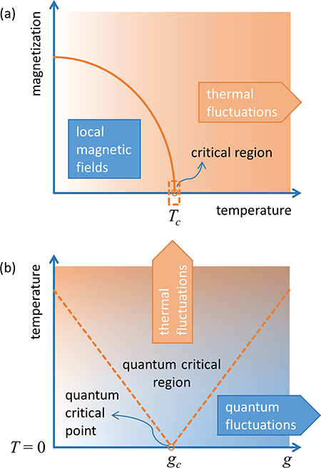 a) An example of the classical phase transition in a ferromagnet. Thermal fluctuations causing the random reorientation of the constituent spins grow with temperature. They compete with the tendency of the local magnetic fields to align the spins. As a result, the net magnetization in the ordered state continuously decreases with temperature (orange line) and drops to zero at a critical temperature Tc, surrounded by a narrow critical region (dashed rectangle). (b) A generic example of the quantum phase transition. Quantum fluctuations controlled by the nonthermal parameter g lead to a similar phase transition at a critical value gc, the so called quantum critical point, already at zero temperature, T=0. Their interplay with thermal fluctuations opens up a progressively broader, V-shaped quantum critical region extending much above the zero temperature (dashed lines).