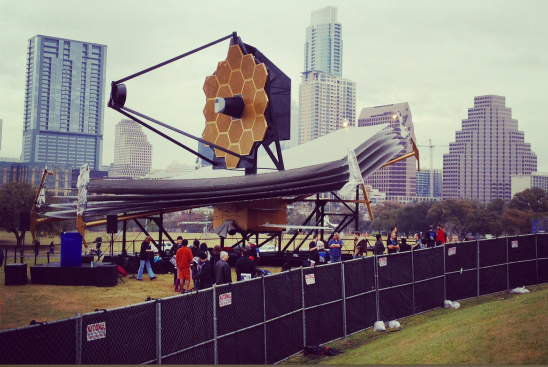 The full-scale James Webb Space Telescope model at South by Southwest in Austin. (Credit: NASA/Chris Gunn)
