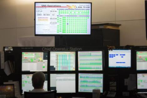 The accelerator-based pulse neutron source at ORNL's Spallation Neutron Source operated steadily for users at the maximum design power of 1.4 megawatts June 26. (Credit: Genevieve Martin/ORNL)