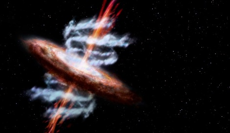This artist's impression shows a galaxy releasing material via two strong jets (shown here in red/orange), as well as through wide-angle outflows (shown in gray/blue). The black hole at the galaxy's center drives both jets and outflows. (Credit: ESA/AOES Medialab)