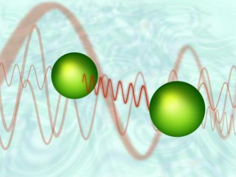Two atoms exchanging a virtual photon. Empty space around them is not as empty as one might think. (Credit: Vienna University of Technology, TU Vienna)