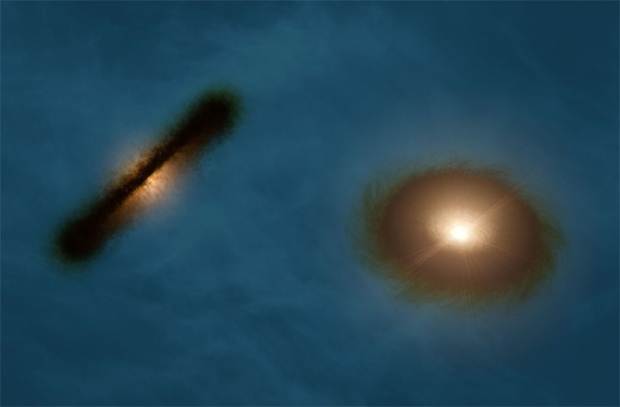 Artist's impression of the discs around the young stars HK Tauri A and B (Credit: R. Hurt (NASA/JPL-Caltech/IPAC)