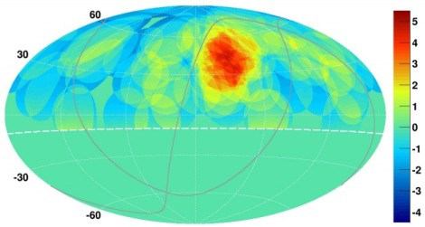 The hotspot map for ultrahigh-energy cosmic rays. (Credit: Telescope Array)
