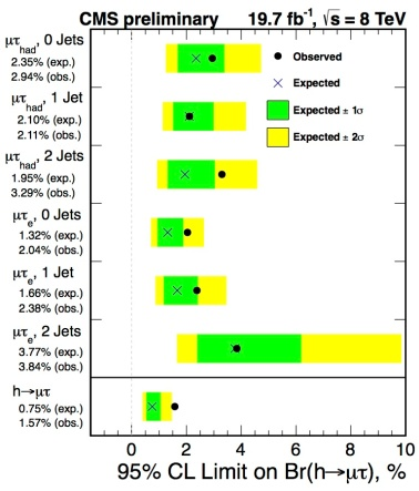 The results obtained by the CMS Collaboration showing that six different channels all give a non-zero value for the decay rate of Higgs boson into pairs of tau and muon. (Credit: Pauline Gagnon)