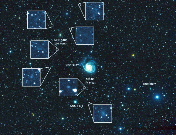 This image shows the nearby spiral galaxy Messier 101 and the seven newly discovered dwarf galaxies. (Credit: Allison Merritt et al.)