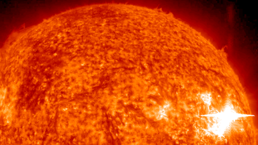 A solar flare erupted on the far side of the sun on June 4, 2011, and sent solar neutrons out into space. Solar neutrons don't make it to all the way to Earth, but NASA's MESSENGER, orbiting Mercury, found strong evidence for the neutrons, offering a new technique to study these giant explosions. (Credit:  NASA/STEREO/Helioviewer)