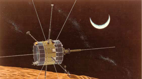 Engineers failed to resolve fuel system problems on NASA's retired ISEE-3 satellite Wednesday. An artist's rendition shows the spacecraft during a close lunar pass. (Credit: NASA)