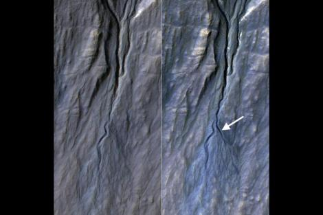 This pair of before (left) and after (right) images captured by the HiRise camera on NASA's MRO documents the formation of a new channel on a Martian slope between 2010 and 2013. (Credit: NASA/JPL-Caltech/University of Arizona)
