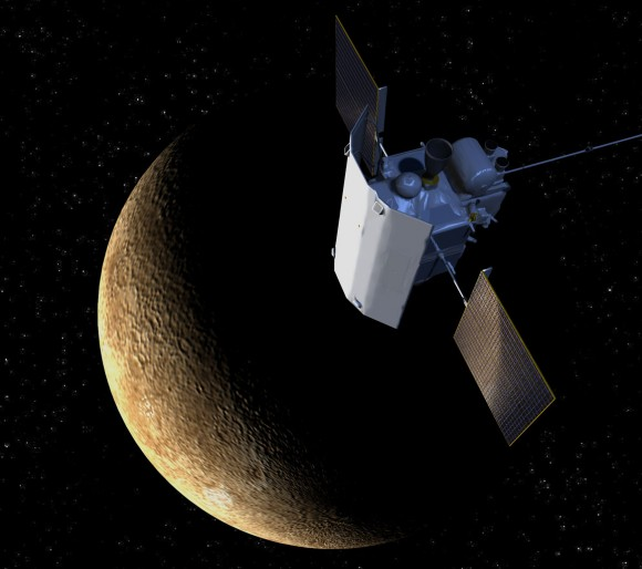 Artist's conception of NASA's MESSENGER spacecraft above Mercury. (Credit: JHUAPL)