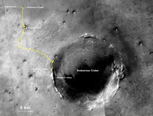 NASA reports that the Mars Rover has clocked up 25.01 miles of driving on the Red Planet—setting a record for the longest distance a vehicle has driven outside Earth. (Credit: NASA)