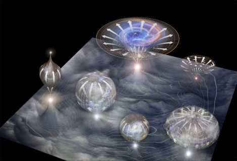 This illustration depicts a main membrane out of which individual universes arise; they then expand in size through time. (Credit: Moonrunner Design)