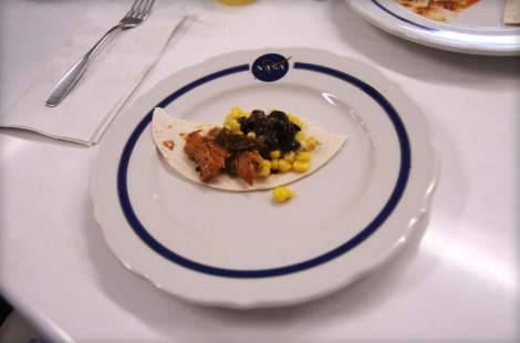 A sample meal demonstrates what NASA astronauts might eat aboard the International Space Station. (Credit: Daniel Terdiman/CNET)