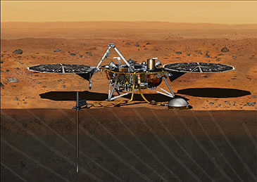 Artist's impression of the InSight Mars lander. The SEIS will be deployed onto the surface using a robot arm, where it will then record signals from marsquakes and meteorite impacts in order to probe the planet's interior. (Credit: NASA/JPL-Caltech)
