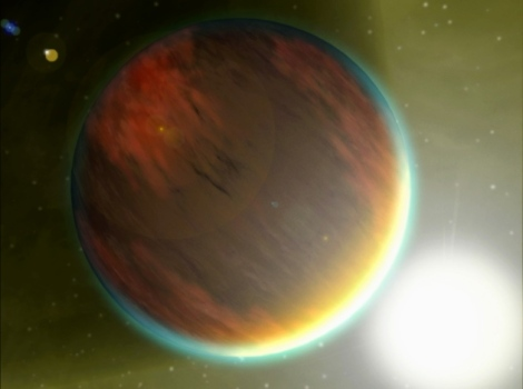 The exoplanet 209458b, a gas giant, is located 150 light-years from Earth.  Dry atmospheres of three exoplanets challenge ideas of how planets form. (Credit: NASA/JPL-Caltech)