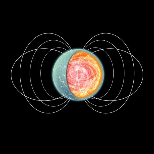 An artist's impression of a magnetar with an intense torroidal magnetic field in its core. (Credit: NASA/CXC/M.Weiss)