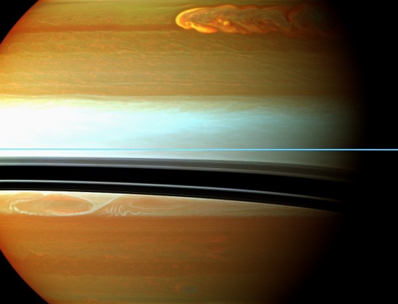 Saturn's northern storm marches through the planet's atmosphere in the top right of this false-color mosaic from NASA's Cassini spacecraft. (Credit: NASA/JPL-Caltech/Space Science Institute)