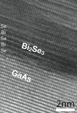 The atomic layers of the topological insulator bismuth selenide are visible in this high-resolution electron microscope image. (Credit: Samarth lab, Penn State University)