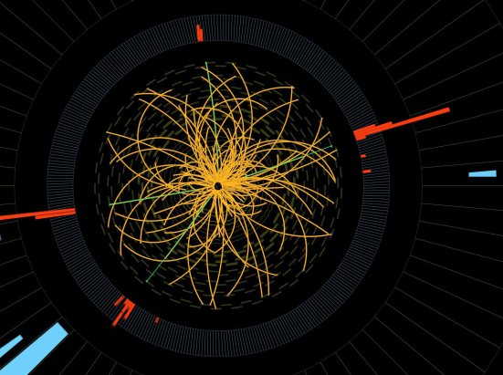 """his 2011 image provide by CERN, shows a real CMS proton-proton collision in which 4 high energy electrons (green lines and red towers) are observed in a 2011 event. The event shows characteristics expected from the decay of a Higgs boson but is also consistent with background Standard Model physics processes.  To cheers and standing ovations, scientists at the world's biggest atom smasher claimed the discovery of a new subatomic particle Wednesday July 4, 2012, calling it """"consistent"""" with the long-sought Higgs boson — popularly known as the """"God particle"""" — that helps explain what gives all matter in the universe size and shape.  (Credit: AP Photo/CERN)"""