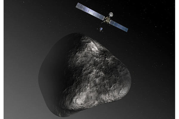 An artist's impression shows what the Rosetta orbiter will look like when it deploys the Philae lander to a comet later this year. (Credit: ESA)