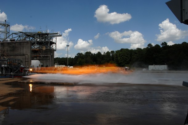 Engineers just completed hot-fire testing with two 3-D printed rocket injectors. Certain features of the rocket components were designed to increase rocket engine performance. The injector mixed liquid oxygen and gaseous hydrogen together, which combusted at temperatures over 6,000 degrees Fahrenheit, producing more than 20,000 pounds of thrust. (Credit: NASA photo/David Olive)