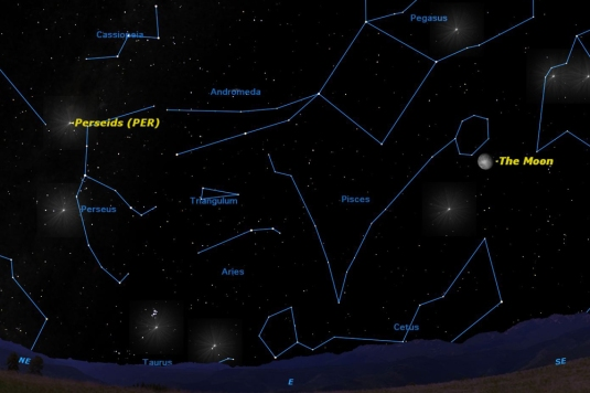 A particularly large bright Moon will interfere with viewing the Perseid meteor shower this year. (Credit: Starry Night)