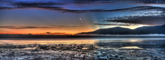 A panoramic view of the Venus Jupiter Conjunction on August 17, 2014, taken from the Cairns Esplanade in Queensland Australia. (Credit: Joseph Brimacombe.)