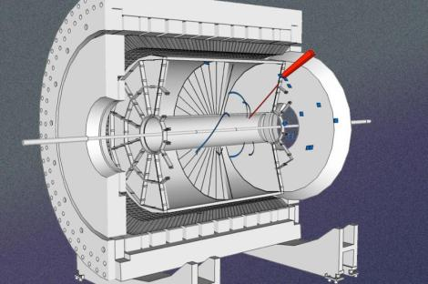 The STAR detector, used in the researchers' experiment, measures the energy and angle of the electron from the W boson decay produced in the proton collision. (Credit: STAR Collaboration)