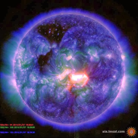 NASA has warned that a new sunspot spewing powerful X-class flares is beginning to rotate to a position directly in line with Earth. (Credit: NASA)