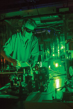 Professor Howard Milchberg.  University physicists working in the Intense Laser Matter Interactions group have made two breakthroughs in recent months: One allows them to send high-powered lasers through atmosphere, and another uses this technology to collect weak signals from a distance. (Credit: Samantha Medney/For The Diamondback)